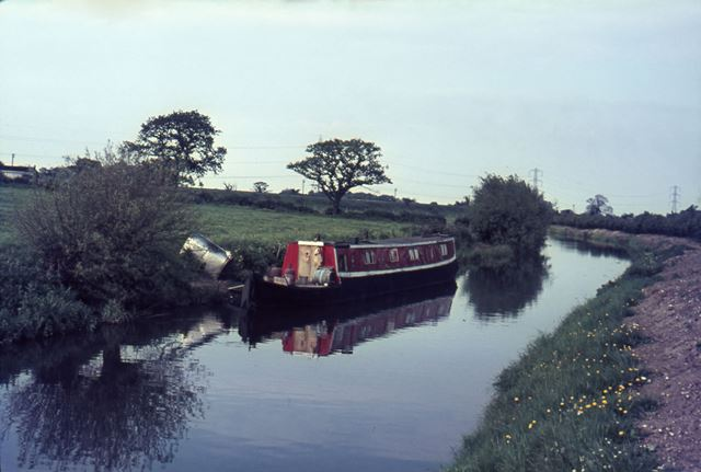 Barge on the Trent and Mersey Canal, Weston on Trent, 1965