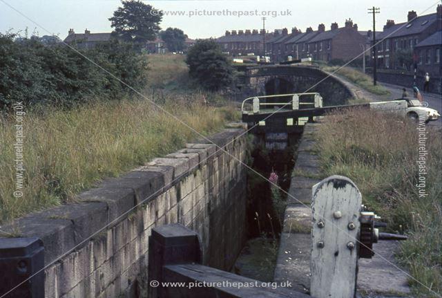 Locks on the Peak Forest Canal, Lockside, Marple, 1964