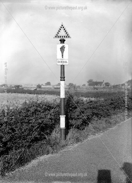 School warning sign, Kirkby in Ashfield, 1933
