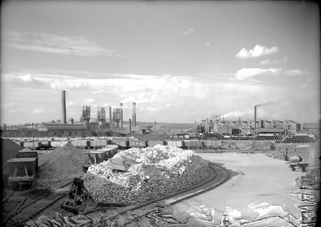 View from Old Works towards New Works and the Nutbrook Spun Plant