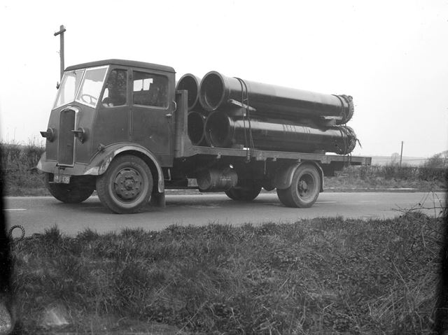 A lorry loaded with Stanton iron pipes