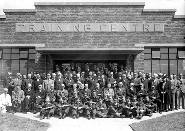 Officials, visitors and apprentices at the opening of the new Training Centre, Stanton Works, 1947
