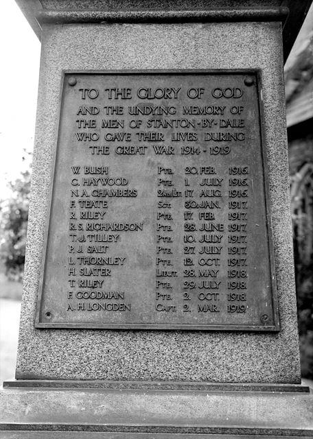 War memorial in St. Michael's churchyard. Stanton-by-Dale, c 1948