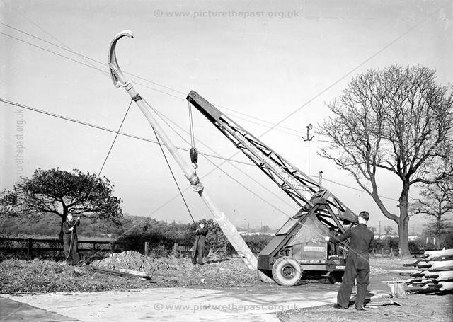 Crane Erecting Concrete Lamp Column, Concrete Plant, Stanton Works, c 1930