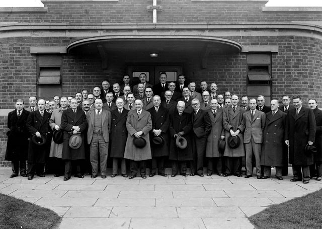Stanton Ironworks Company Reps at Sales Confrence, Exhibition Building, Stanton Works, c 1948