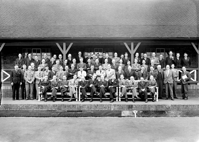 Visit by London and Southern Counties Junior Gas Association, Club House, Stanton Works, c 1949