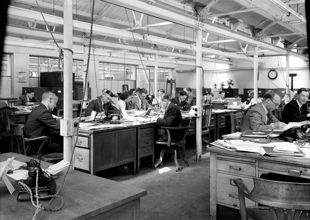 Interior of Main Offices (Commercial Department), Low's Lane, Stanton Works, 1949