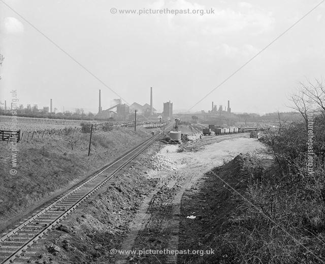Looking South East, Quarry Hill Road Bridge, Ilkeston, c 1950s