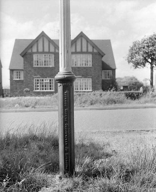 Base of old Stanton Cast Iron Lamppost on Moorbridge Lane, Stapleford, c 1960?