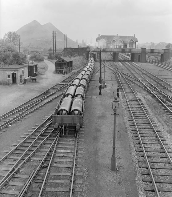 Stanton Gate Railway Station, viewed from South, Stanton by Dale, c 1950s ?