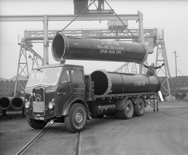 Atkinson Silver Knight Lorry Being Loaded with 78andquot; bore pipes, Stanton Works, c 1955
