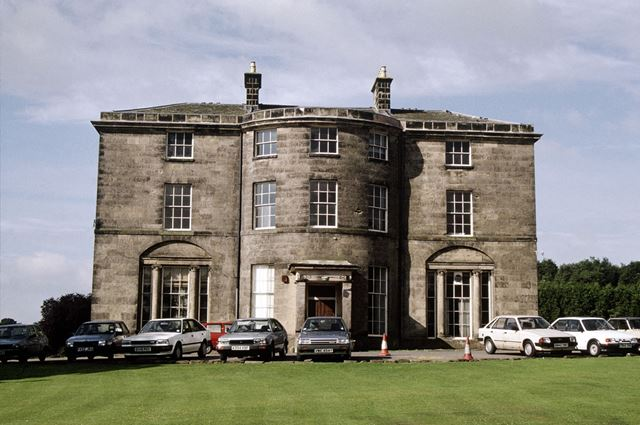 Bow-fronted facade of Allestree Hall