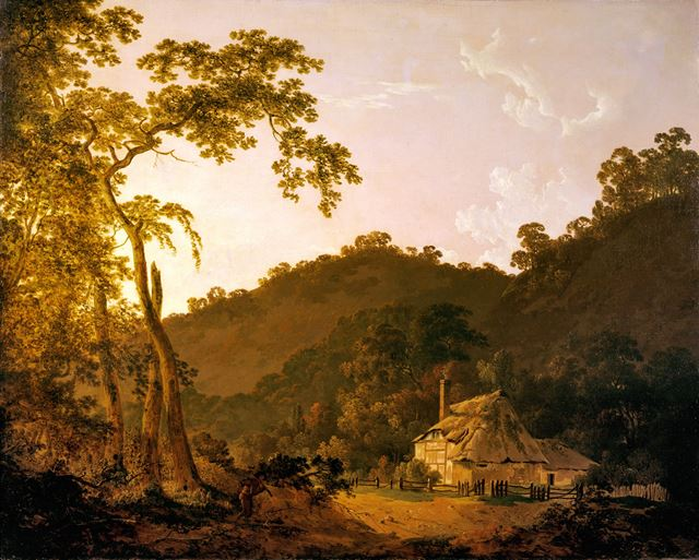 'A cottage in Needwood Forest' By Joseph Wright of Derby