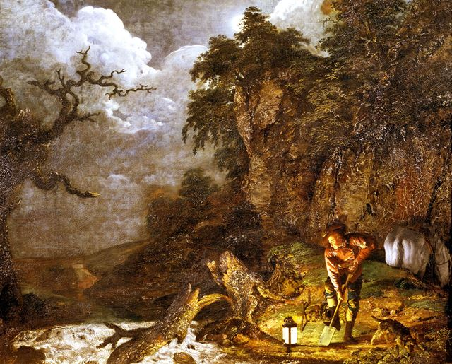 'Earthstopper on the banks of the Derwent' By Joseph Wright of Derby