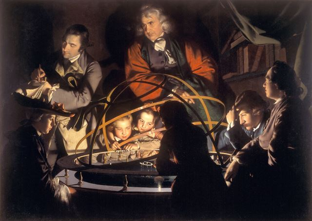 A Philosopher lecturing on the Orrery by Joseph Wright