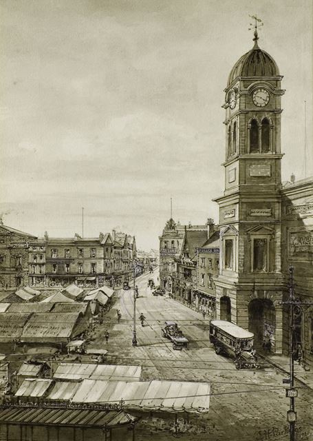 Town Hall and Market Place, Derby 1925