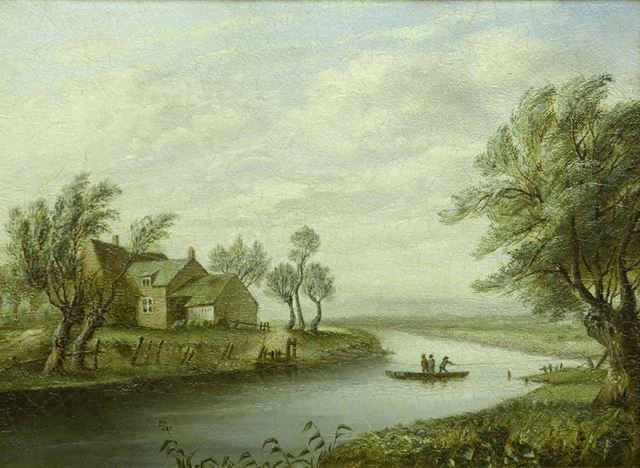 Boat house and ferry on River Derwent from the Holmes to Old Meadows, 1787