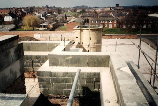 County Gaol, Roof of entrance, bastion and curtain wall, during development