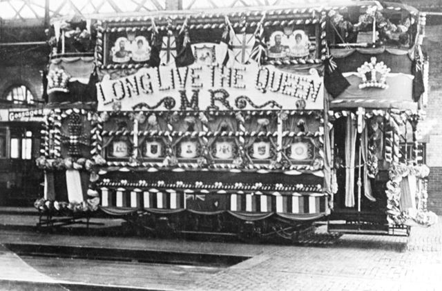 Decorated tram for the Royal Visit of George V and Queen Mary