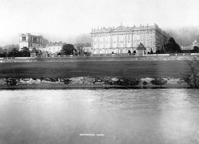 West facade, Chatsworth House from the River Derwent