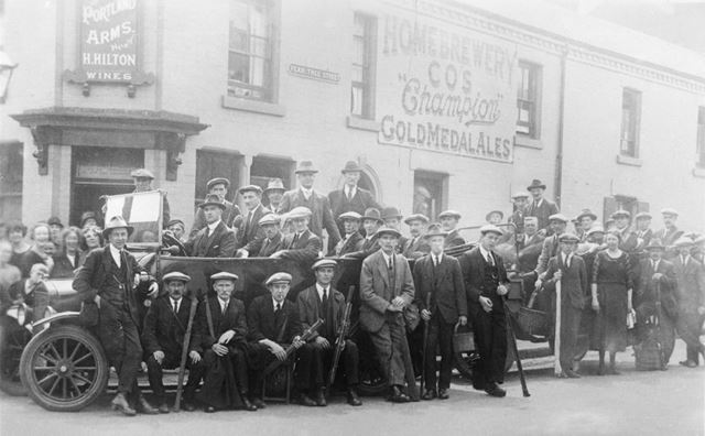 Fishing Party outside The Portland Arms on Pear Tree Street