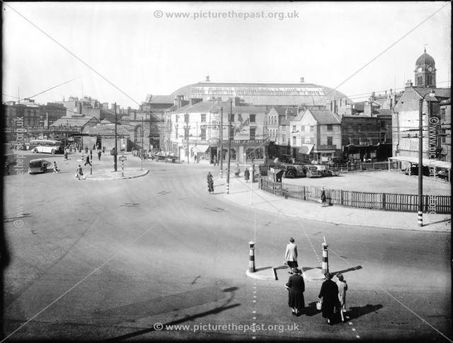 The junction of Morledge, Corporation street, Tenant Street, Albert Street.