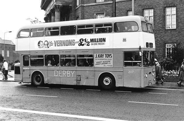 Derby Corporation double-decker bus outside the Council House