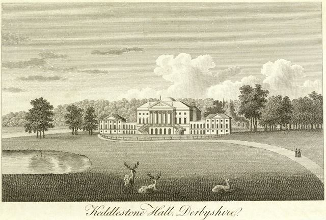 Kedleston Hall - North-east view showing hall, lake and drive