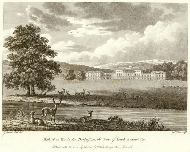 Kedleston Hall - North-east view showing hall, lake and park with deer
