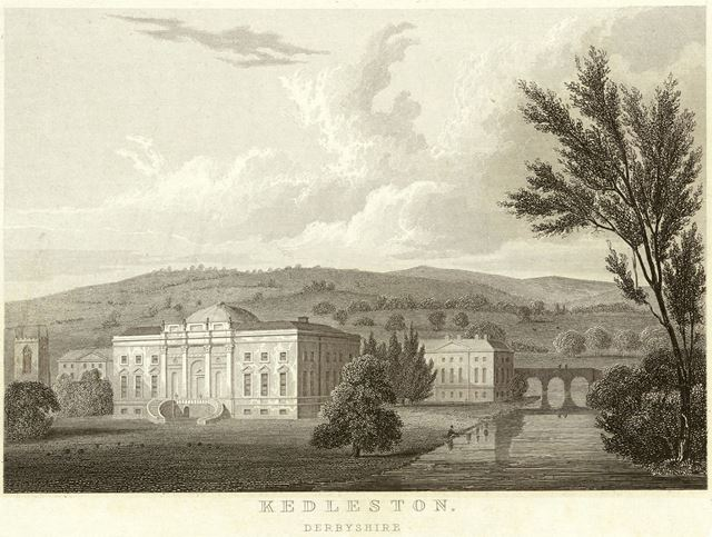 Kedleston Hall - showing the rear of the hall, church and park