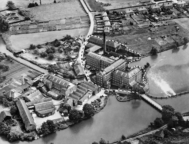 Aerial view of the Boar's Head Mills (Evan's Mills) and River Derwent