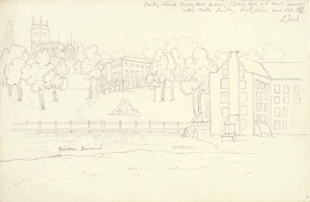 Pencil sketch of Darley Abbey Church, Hall and Mills from the River Derwent