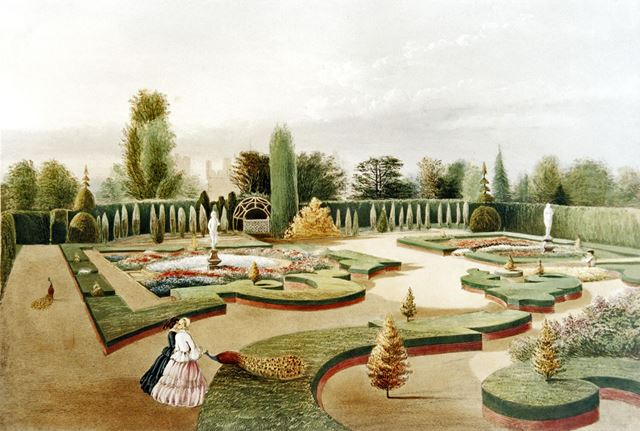 Elvaston Castle, Alhambra Gardens (with faint view of the castle in the background)