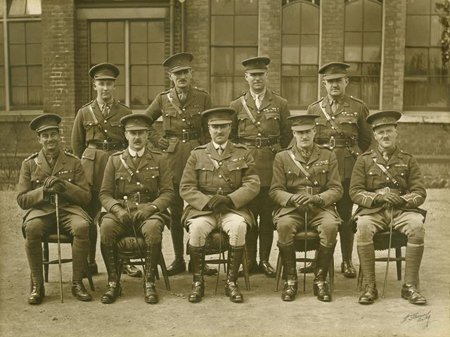 Group of Officers, Normanton Barracks (during or after World War 1?) wearing Sherwood Foresters cap