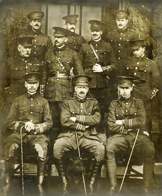Group of Officers, Normanton Barracks (during or around World War 1?) wearing Sherwood Foresters cap