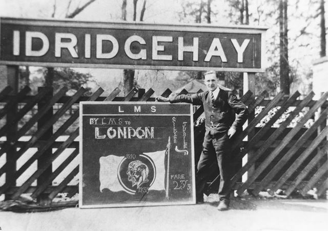 Idridgehay Railway Station Platform - advertising excursions to London for the 1935 Silver Jubilee c