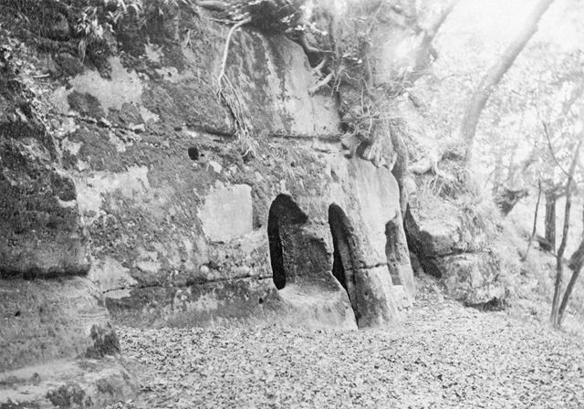 The Hermit's Cave, Hermit's Wood, Dale Abbey, c 1860