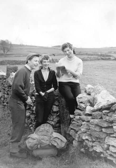 Shirley and Margaret Hitchcock and Friend Hiking, Bakewell, c 1950