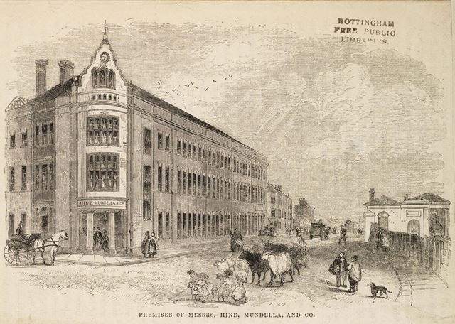 Hine and Mundella's and Co. Hosiery Factory, Station Street c 1856