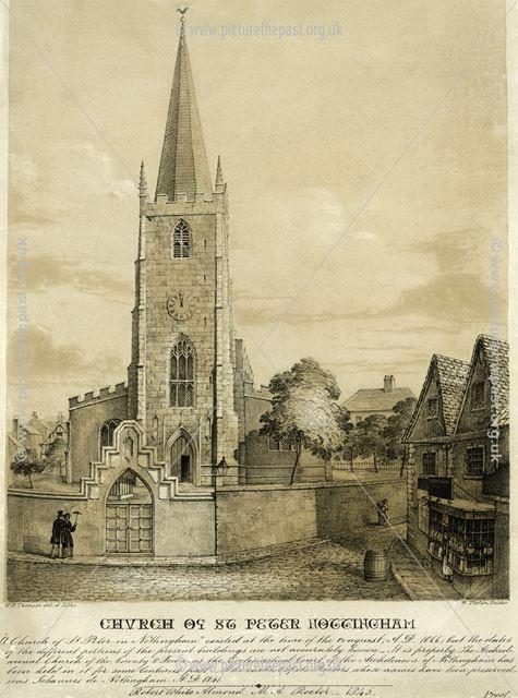 St Peter's Church, St Peter's Gate, Nottingham, 1845