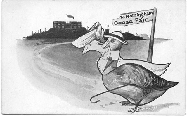 'To Nottingham Goose Fair', advertisment postcard (also showing Nottingham Castle)