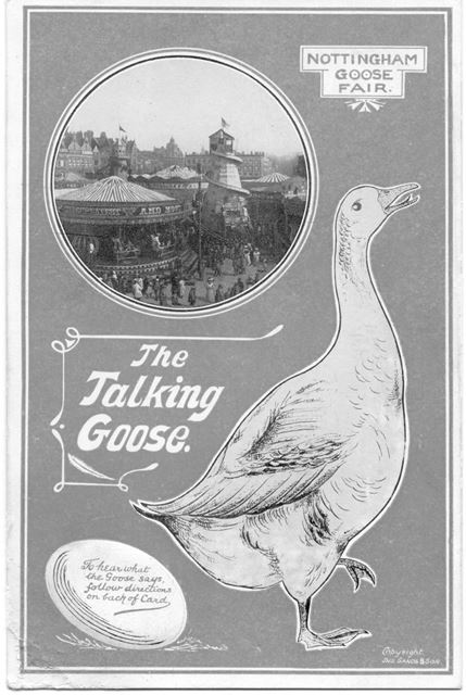 'The Talking Goose' - advertisment postcard for Nottingham Goose Fair