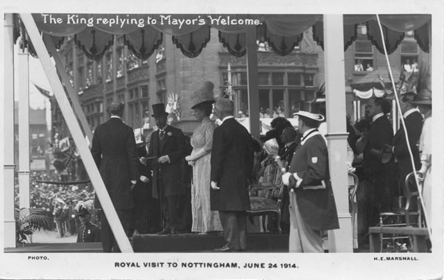 The Royal Visit of King George V and Queen Mary to Nottingham - The King replying to Mayor's Welcome