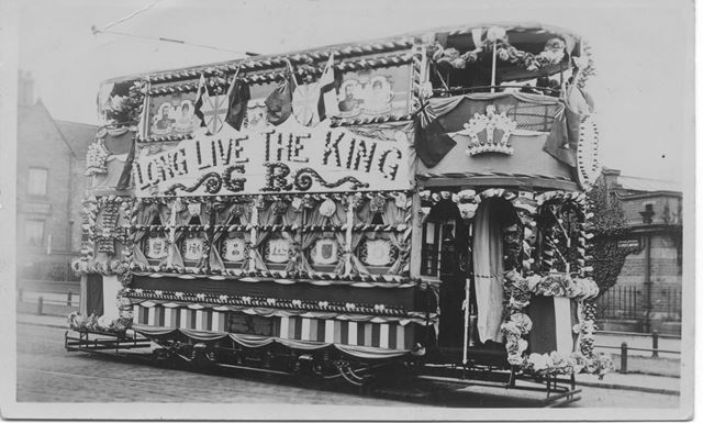 A decorated Nottingham Corporation tram for the Coronation celebrations of George V and Queen Mary