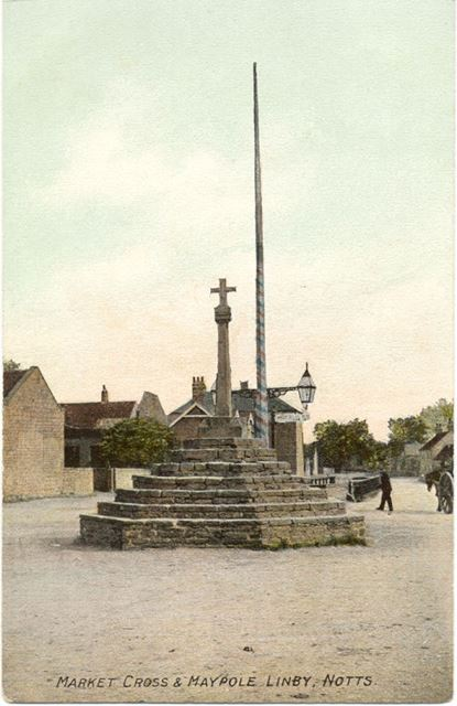 Market Cross and Maypole, Linby, c 1900s