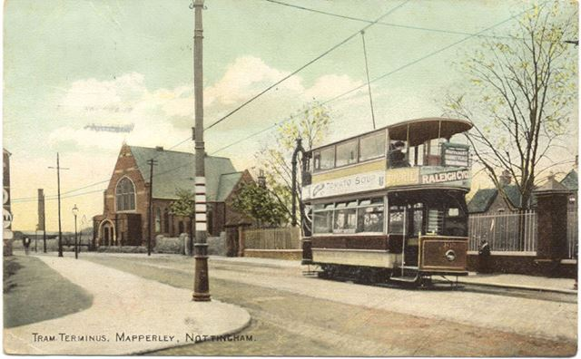 First tram terminus at the junction of Porchester Road and Woodborough Road, Mapperley, 1900s