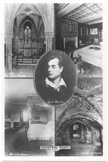Lord Byron and interior scenes from Newstead Abbey, c 1900s