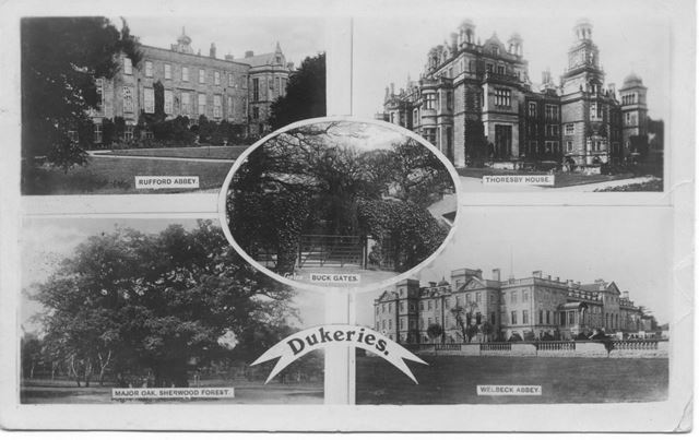 Dukeries of: Rufford Abbey, Thoresby, Welbeck, Sherwood Forest, Buck Gates, c 1910s