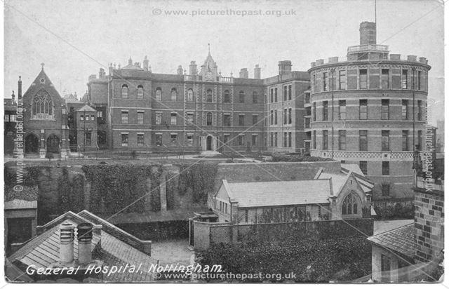General Hospital from Standard Hill, Nottingham, c 1900s
