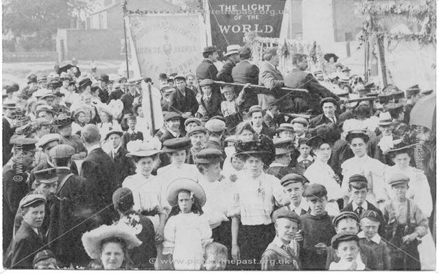 Highbury Vale Primitive Methodist Sunday School Rally? Unknown Location, Poss Bulwell?, Early 1900s.